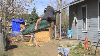 4 1 2013 slackline backflip with a glass of water