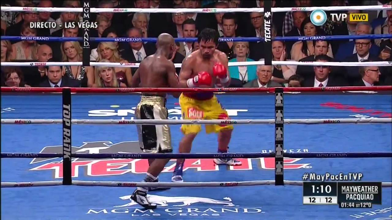 Pelea Mayweather vs Pacquiao Round 12 + final HD - YouTube
