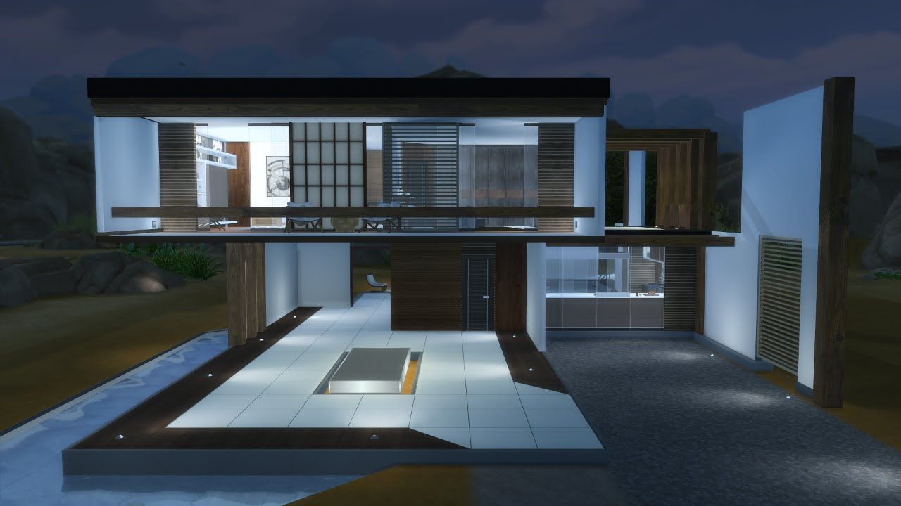 The sims 4 modern house casa moderna ita 1 youtube for Casa moderne
