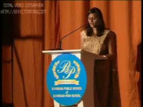 MC Sneha hosting the 50th annual day celebrations of Bharat Public Indian  School