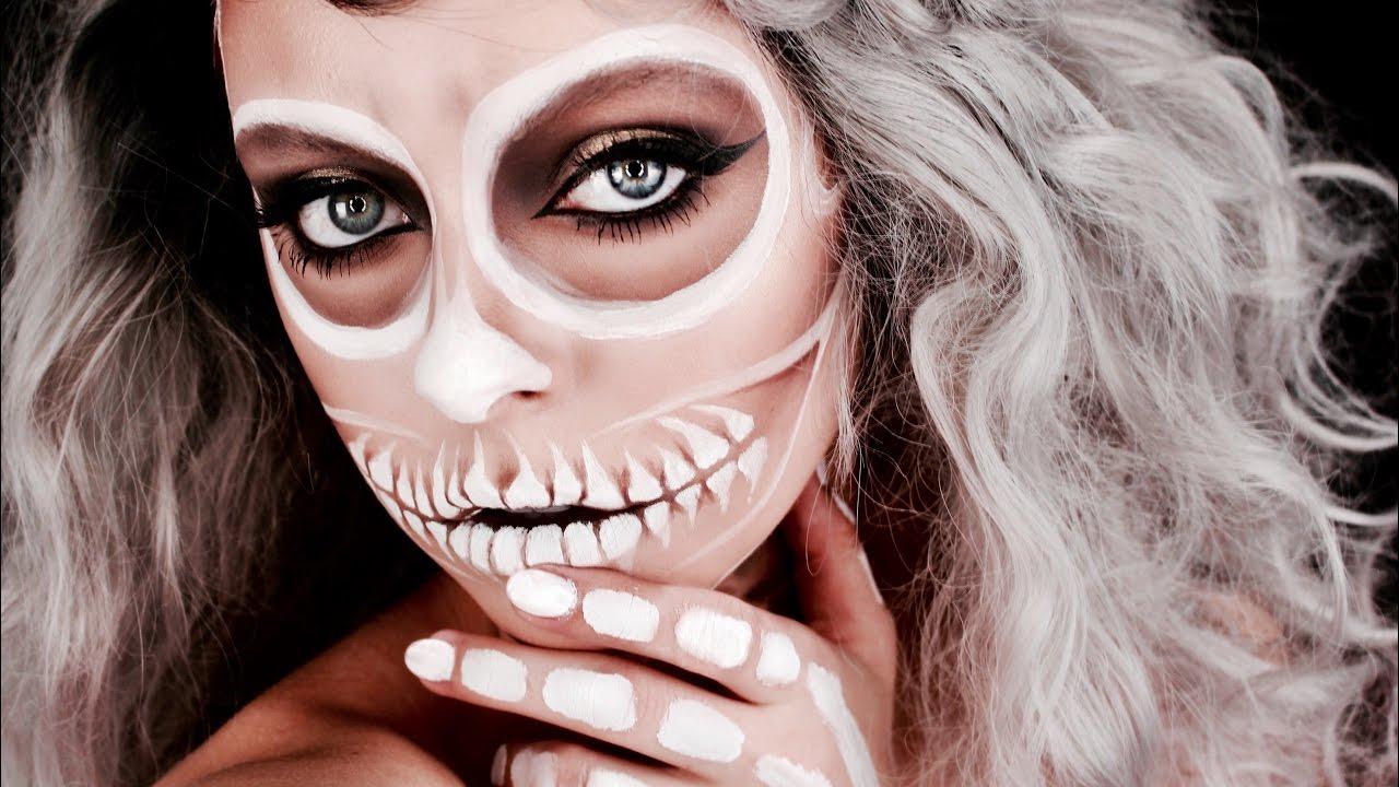 white skull halloween makeup cosmobyhaley youtube. Black Bedroom Furniture Sets. Home Design Ideas