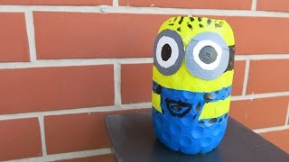 DIY Plastic Bottle Minion. How to Make a Minion from Recycled. Fun Crafts for Kids.