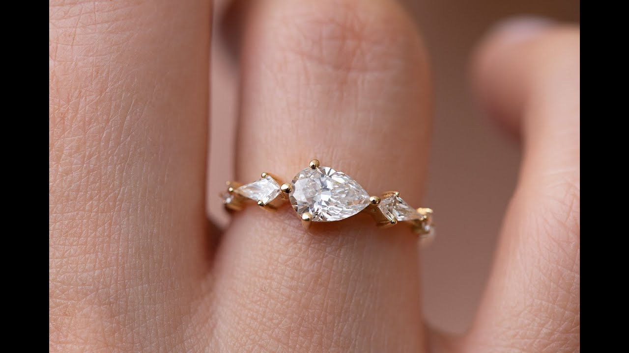 081f4efee Pear Shaped Engagement Ring - Diamond Lineup Ring - YouTube