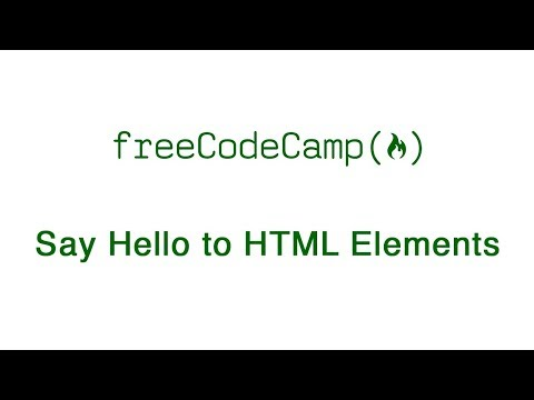 Basic HTML And HTML5: Say Hello To HTML Elements | FreeCodeCamp