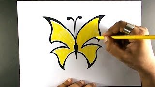 butterfly drawing draw easy step yellow
