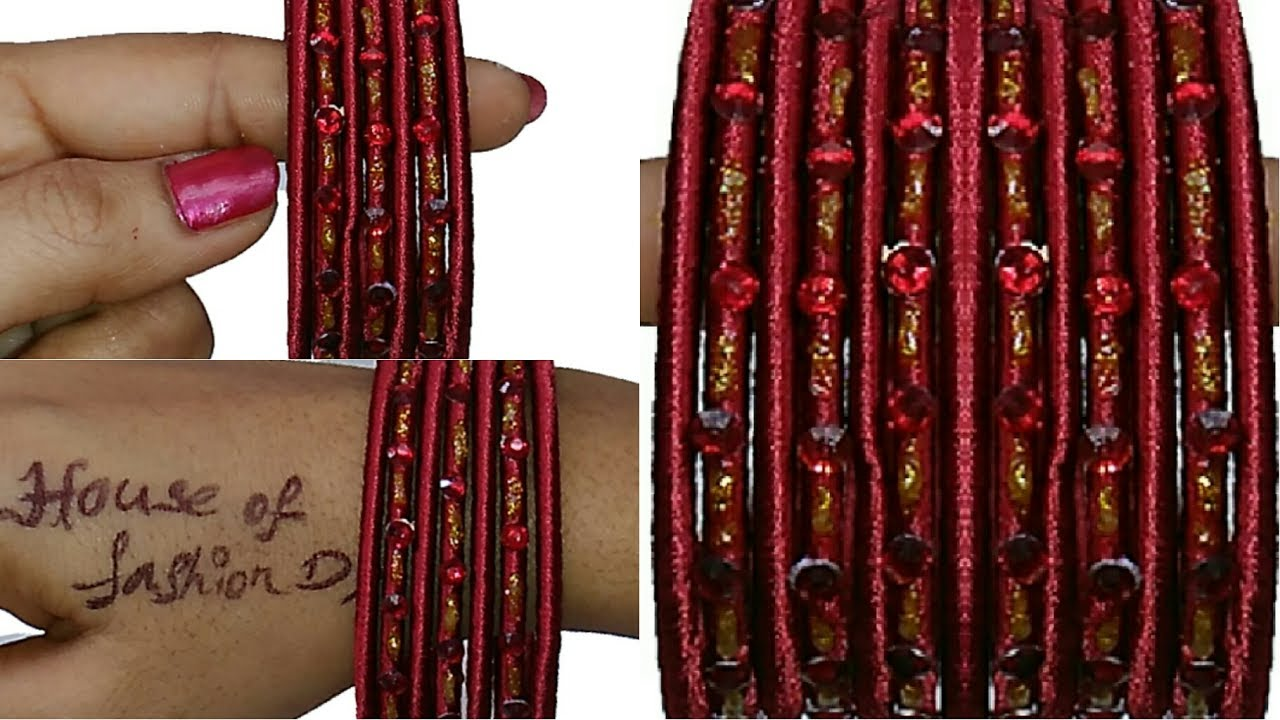 How To Make Designer Silk Thread Bangles At Home Very Simple Beautiful Youtube