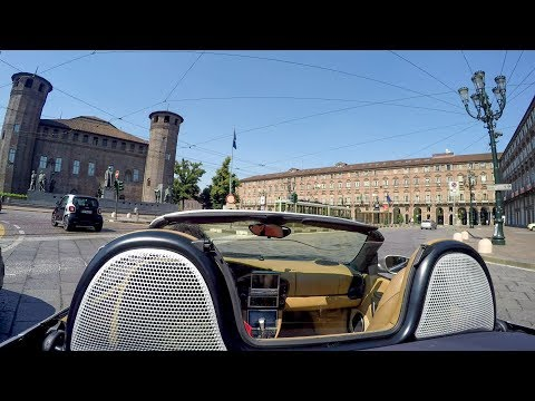 Driving in the Historical Center of Turin, Italy. Porsche Boxster City Tour