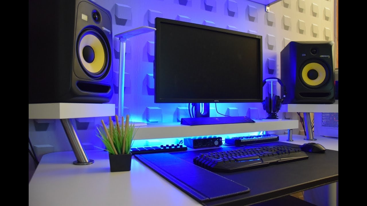 Minimalist bedroom studio desk ikea hack guide youtube for Bedroom recording studio
