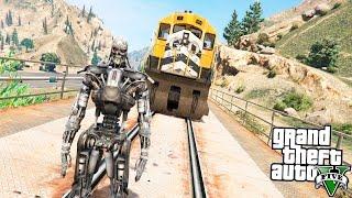 GTA 5 Моды: Терминатор Т-600! - Терминатор против Поезда!