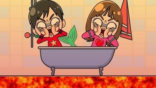 マグマだー!! 人魚が助けてくれる??? おゆうぎ こうくんねみちゃんアニメ mermaid floor is lava