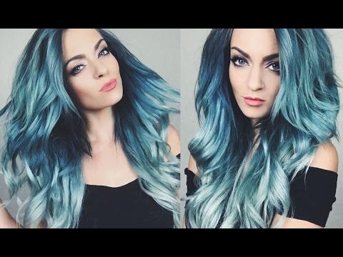 Hair Color Tutorial Blue Green Ombre Hair Dye Youtube