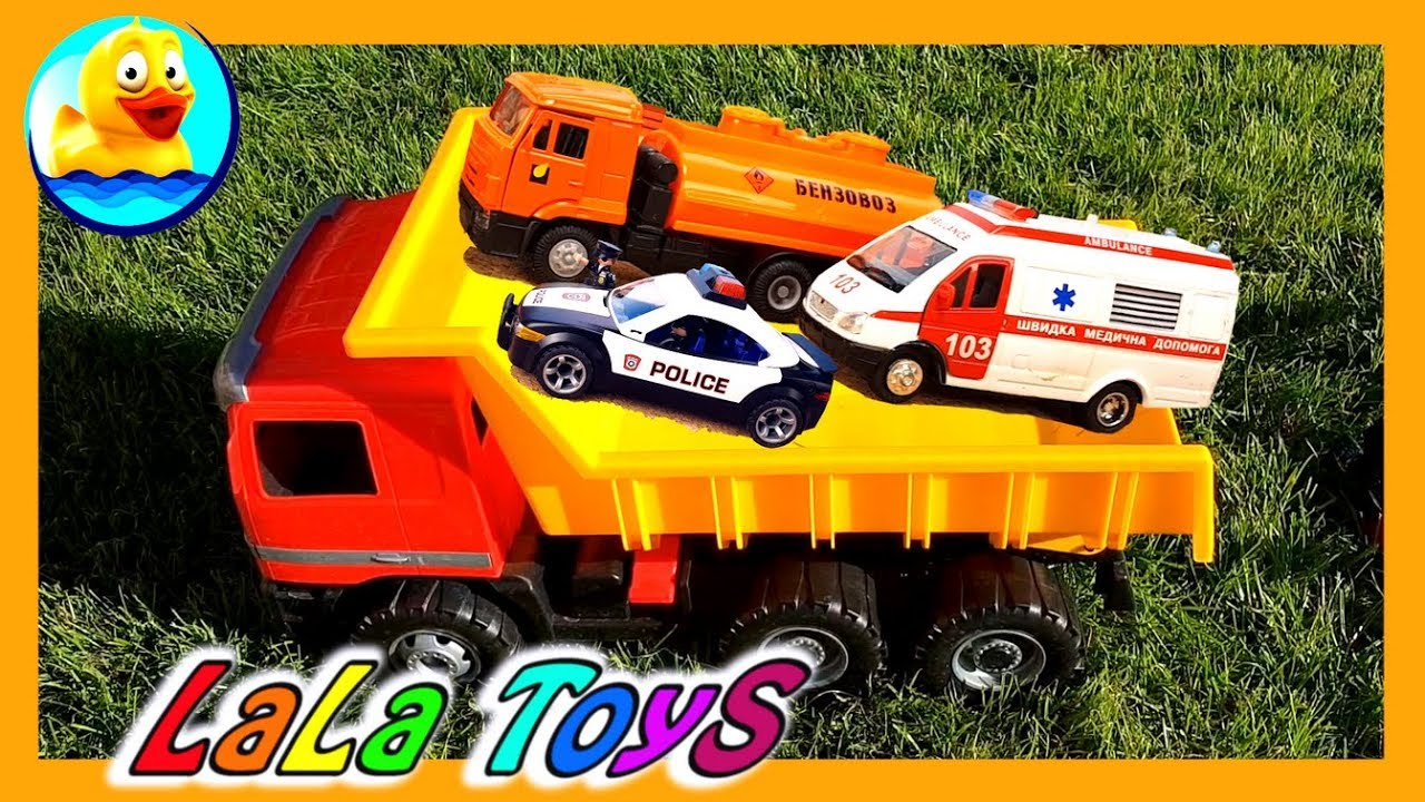 Video about cars. Learn: Ambulance, Police car,  trucks and vehicles for kids