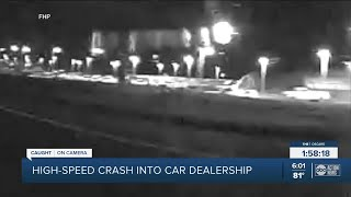 FHP Tampa Woman Driving 111 Mph Crashes Into Car Dealership Injures 3 Passengers