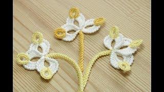 Вязание мотива ТРИЛИСТНИК для ирландского кружева - урок вязания крючком How to crochet flower