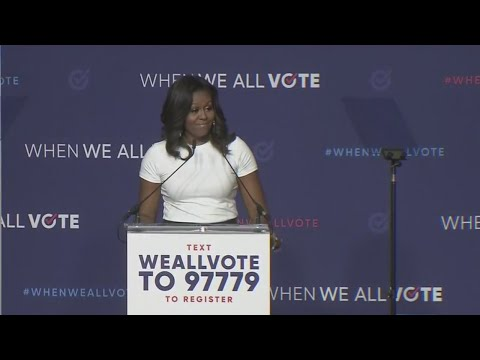 Former First Lady Michelle Obama headlines Las Vegas voter registration rally
