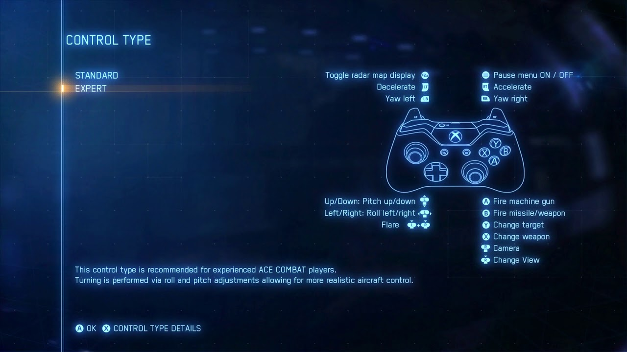 Ace Combat 7: Skies Unknown - Standard & Expert Xbox One Controller Button  Layout Options (2019)