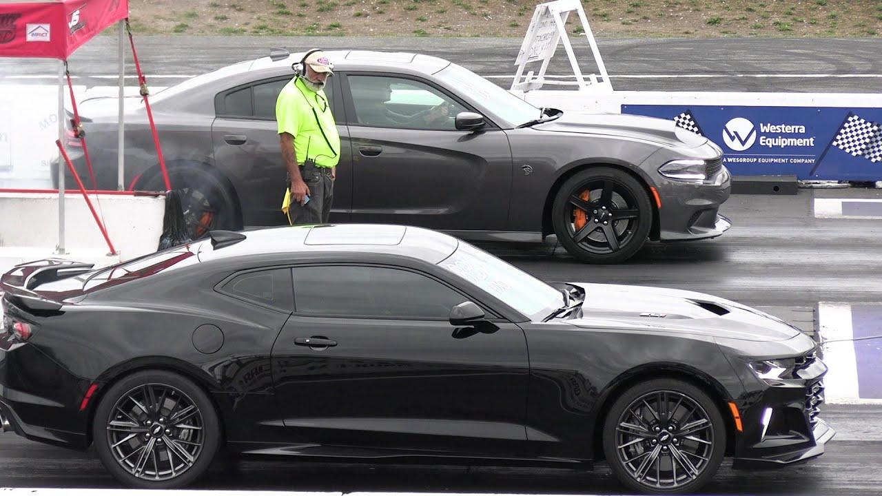 Hellcat vs 2019 ZL1 and vs Shelby GT500 - drag race