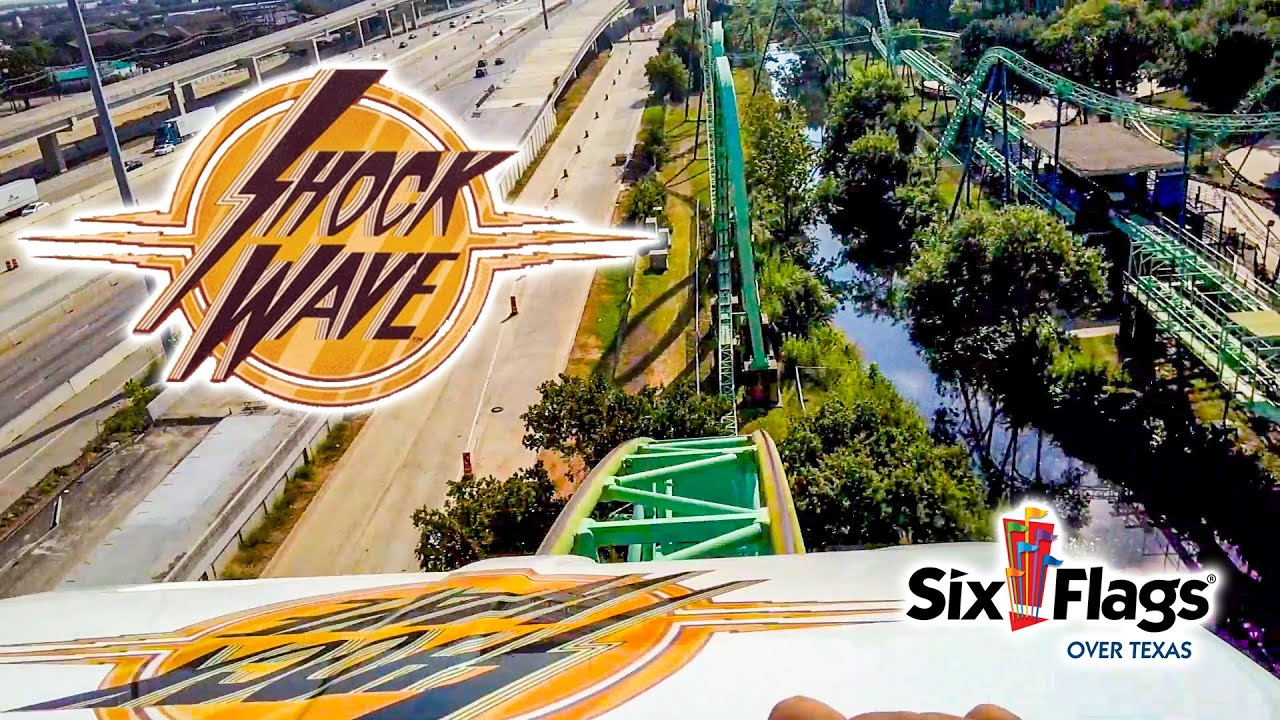 2019 Shock Wave Roller Coaster Front Row and Back On Ride HD POV Six Flags Over Texas