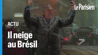 De fortes chutes de neige au Brésil, dans la province de Rio Grande do Sul