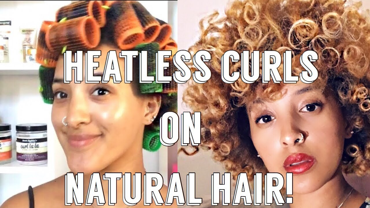 How To Heatless Curls On Natural Hair Roller Set South African