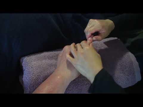 Hand reflexology massage- Brandon's wife Cori massaging his hand part 2