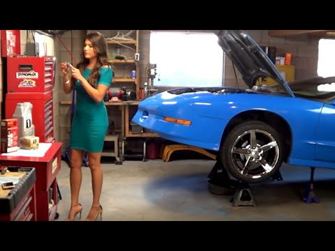 Beautiful Victoria changing Engine Oil in Mini Dress and High Heels at Howstuffinmycarworks