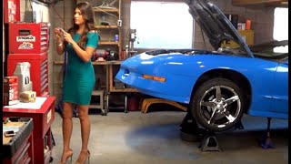 Beautiful Victoria Mendoza changing Engine Oil in Mini Dress and High Heels at Howstuffinmycarworks