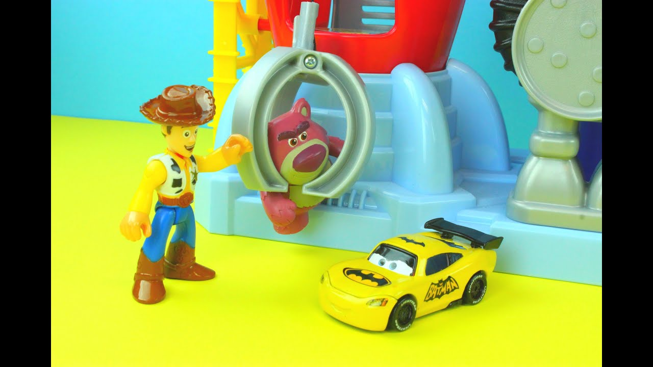 Toy Story Woody gets captured by Lotso & Big Baby BatCar McQueen ...