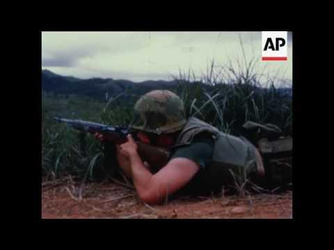 US Marines on demilitarized zone patrol, Vietnam