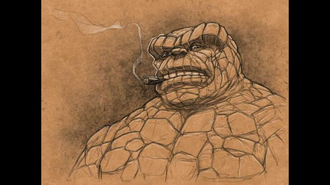Speed drawing of Marvel's Thing from Fantastic Four - YouTube