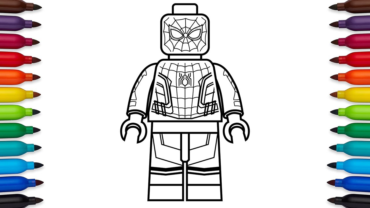 How to draw Lego Spider-man : Homecoming - Marvel Super Heroes - coloring  pages