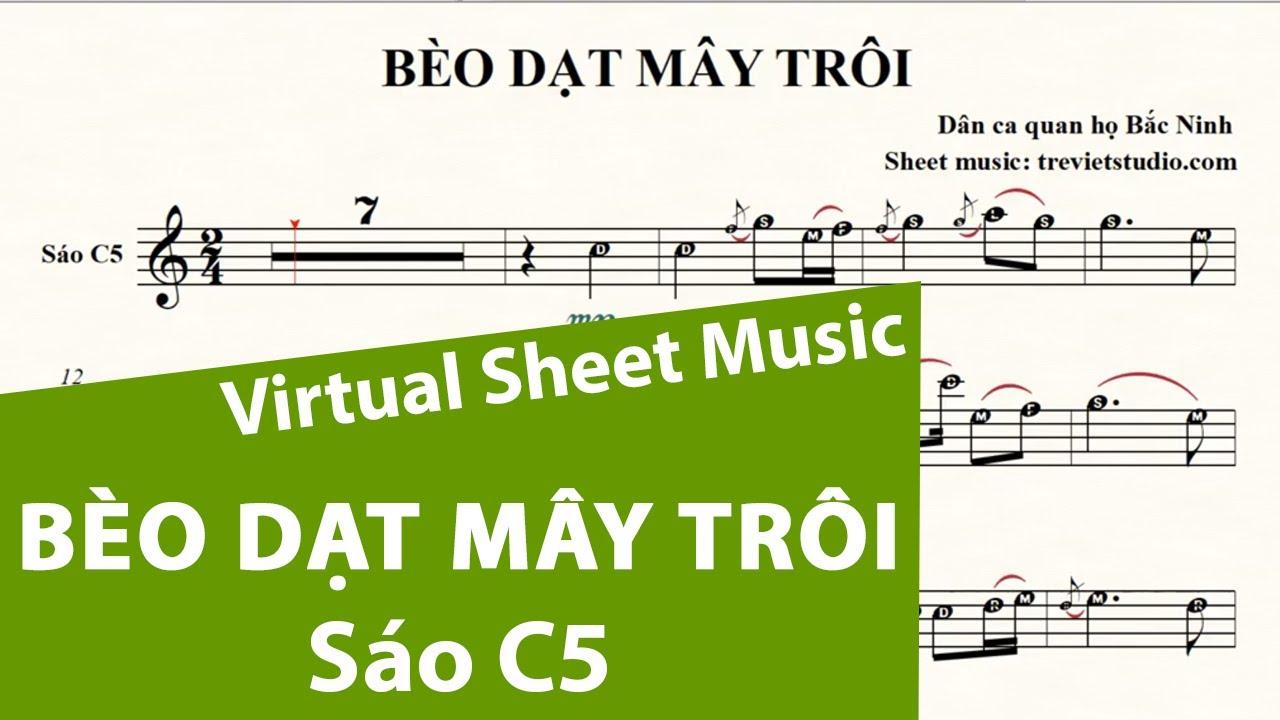 BÈO DẠT MÂY TRÔI ★ Sheet nhạc Beat chuẩn | Sáo trúc C5 |Virtual Sheet Music #trevietstudio | Quan họ