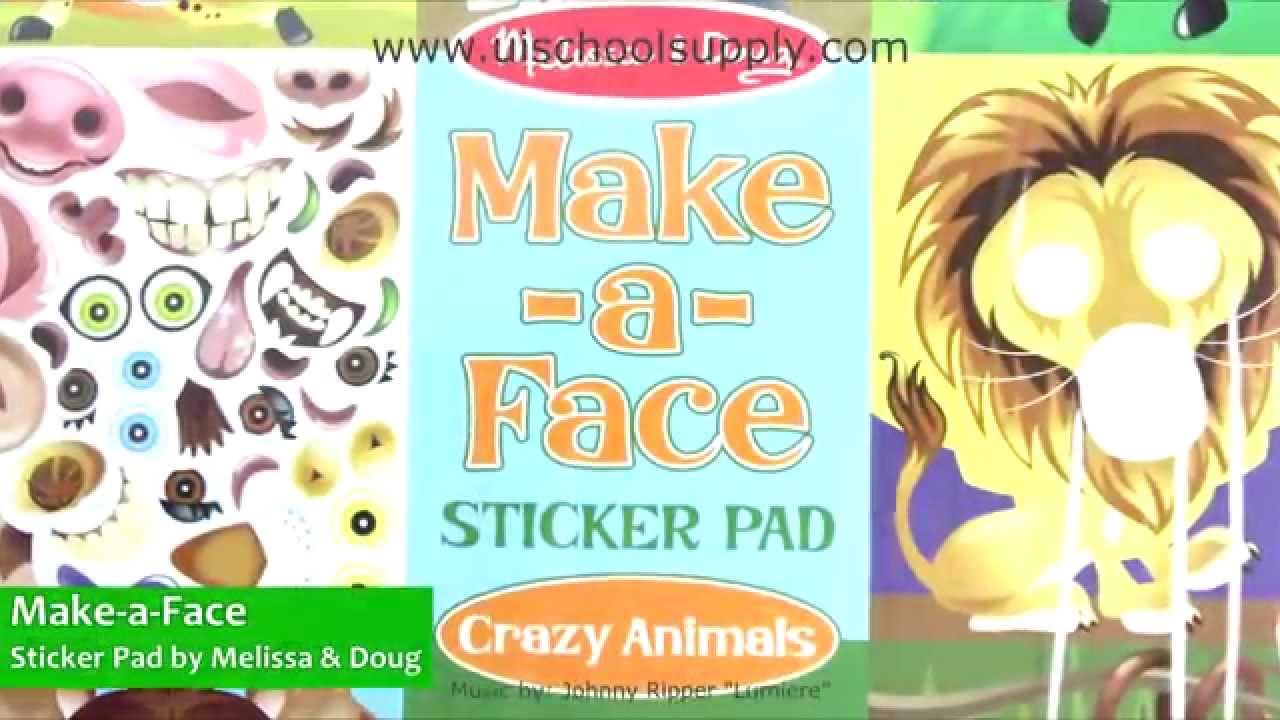 Make-a-Face Sticker Pad Crazy Animals by Melissa & Doug 8065 - YouTube