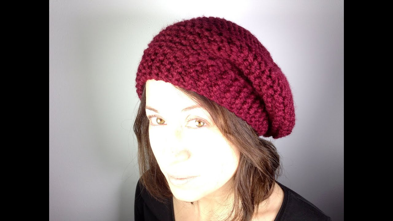 How To Loom Knit Slouchy Beanie Basketweave : How to loom knit a beret hat diy tutorial doovi