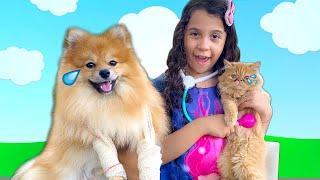 SARAH FINGE BRINCAR de veterinária e AJUDA OS ANIMAIS