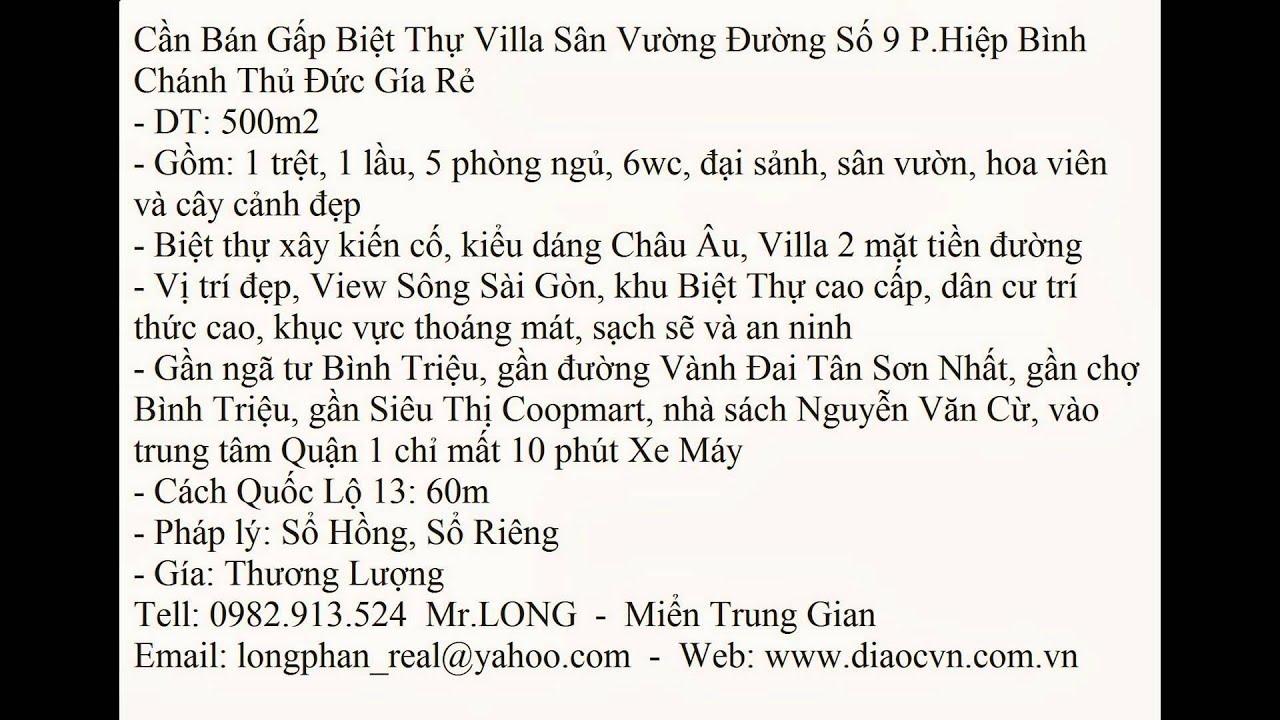 Ban Biet Thu Phuong,P,F Hiep Binh Chanh Duong So 9 Thu Duc 500m2