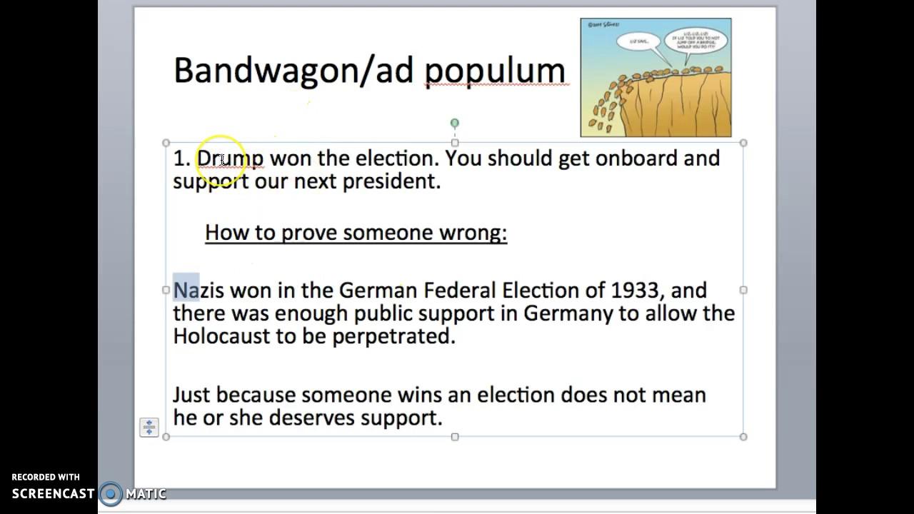 Logical Fallacy 2 Bandwagonad Populum Youtube