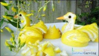 Art In Lemon Duck - Rubber Duck / Swan Fruit Vegetable Carving Garnish | Fruit Decoration