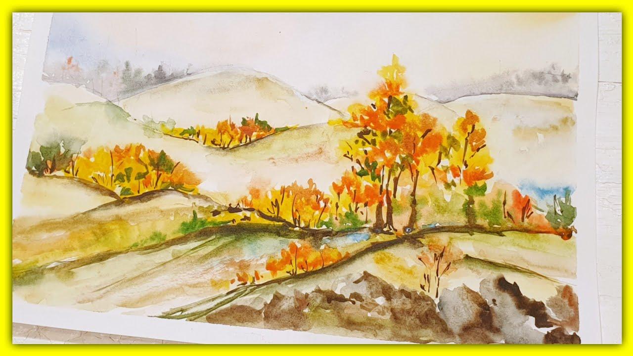 Рисуем Осень акварелью😍