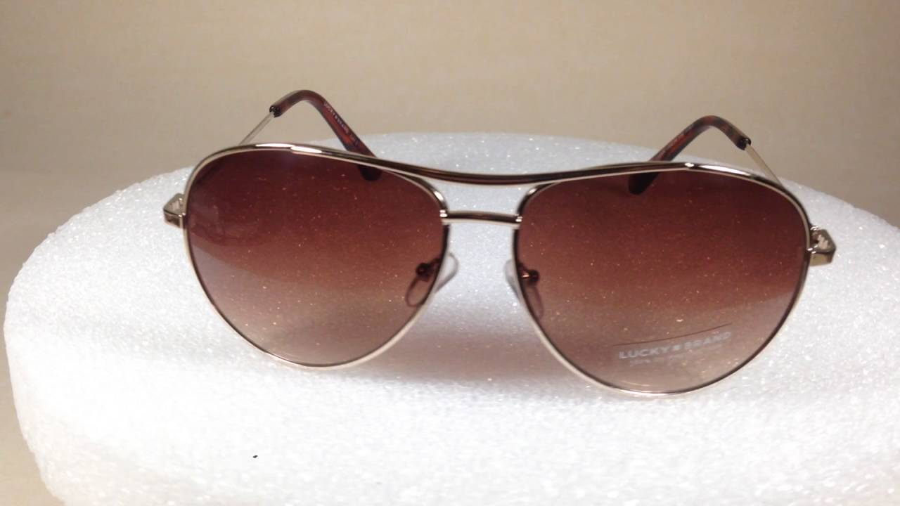 4a7f776643230 Lucky Brand Aviator Sunglasses New Authentic Dawn Gold Tort Brown Gradient  Lens