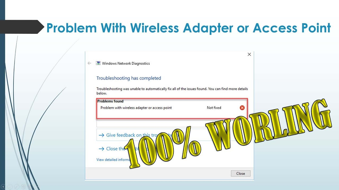 How To Fix Problem With Wireless Adapter Or Access Point In Windows