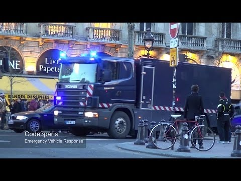 Massive Bank Transfer Police Motorcycle Escort in Paris