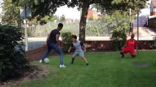 Raheem sterling and kenzy playing footy