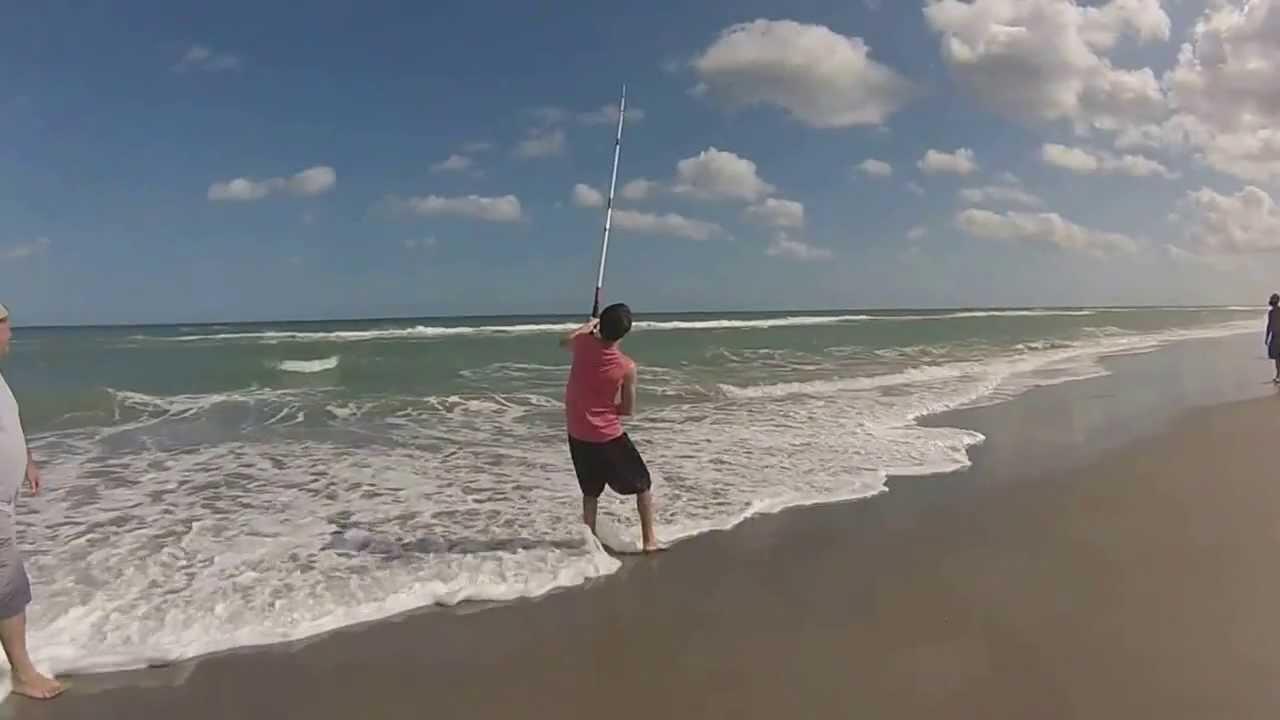 Melbourne beach fl shark fishing 2014 youtube for Beach fishing florida