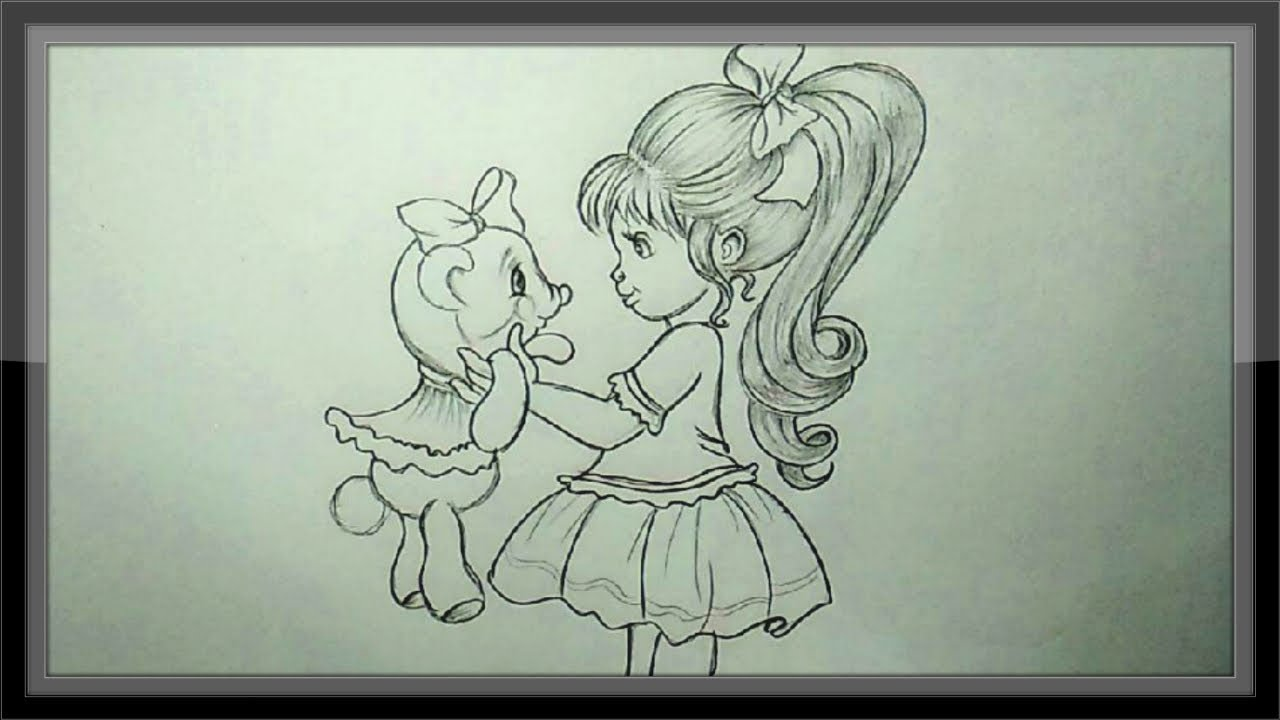 Pencil Drawing How To Draw A Cute Girl Youtube