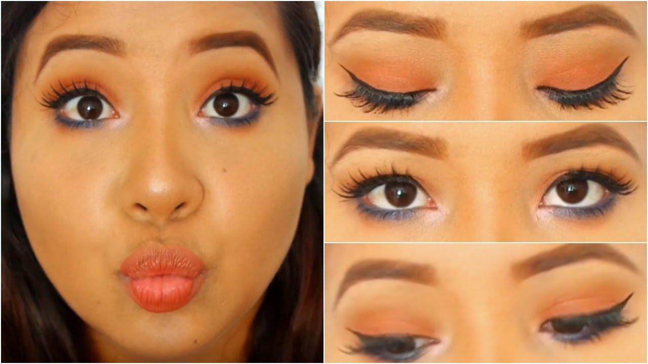 maquillaje fcil para ojos pequeos tonos naranja y azul