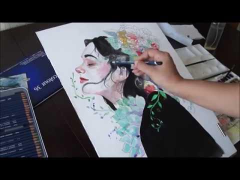 Çiçeklere Ait - Floral Girl Watercolor Painting Suluboya