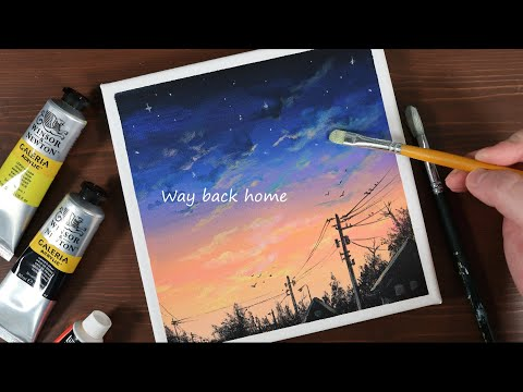 Way back home / Easy acrylic painting for beginners / PaintingTutorial #34