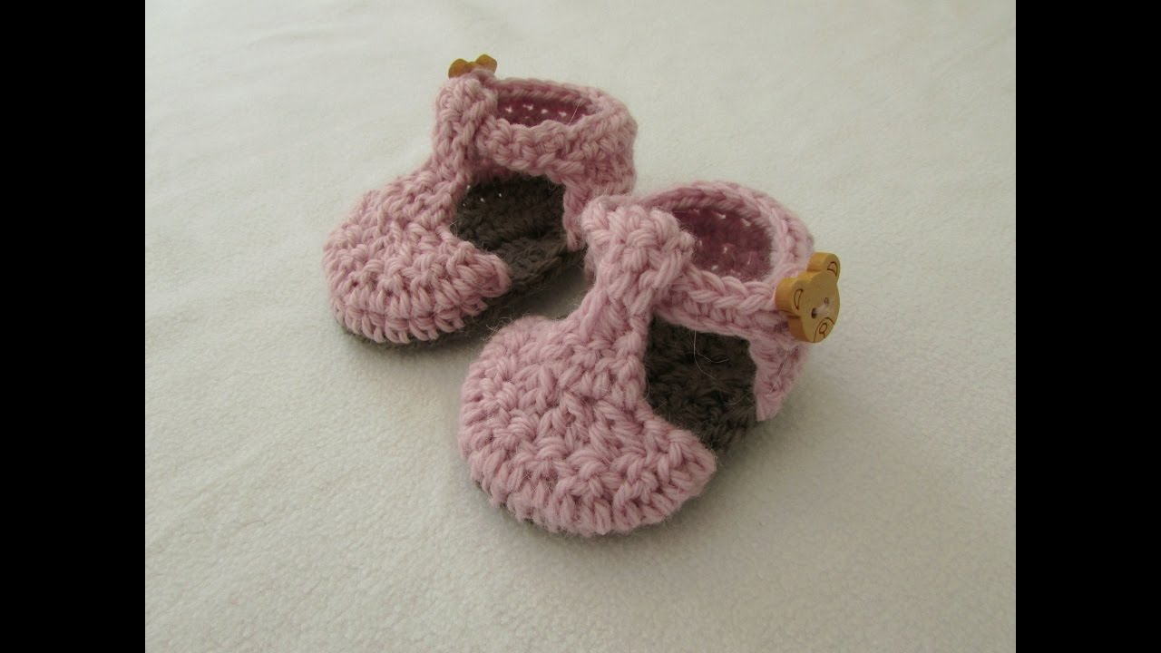 Very Easy Crochet T Bar Baby Shoes Booties Tutorial Youtube