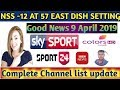 Nss 12at 57e  full dish setting and complete channel list update April 2019||Bharti  Free Dish